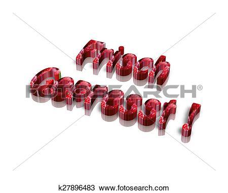Drawing of frisch gepresst. 3d word k27896483.