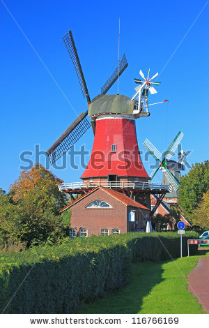 Red Windmill Stock Photos, Royalty.