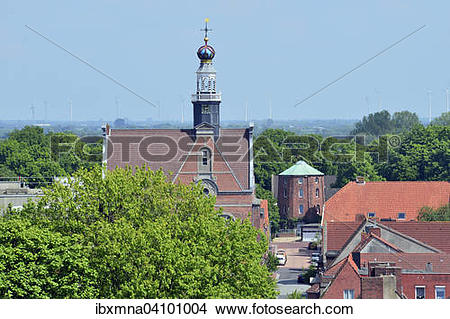 Stock Photo of New Church, mill behind, Emden, East Frisia, Lower.