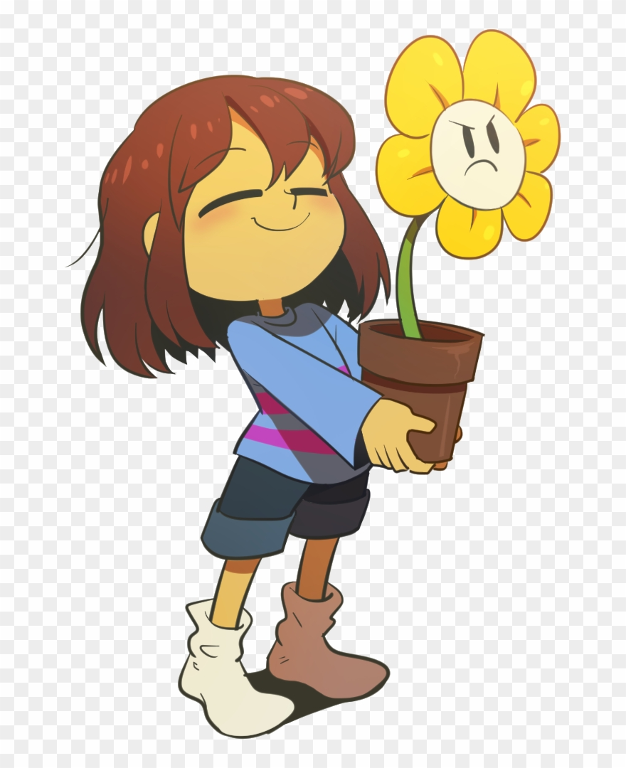 Наклейка Frisk And Flowey Png.