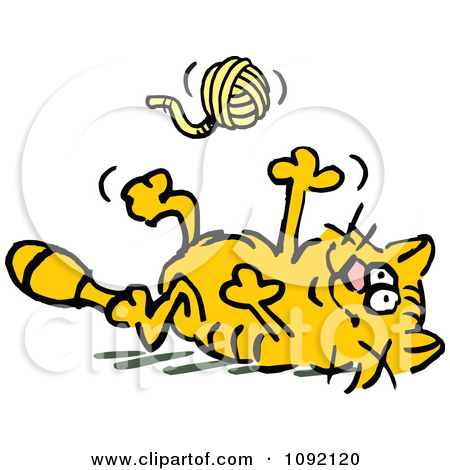 Clipart Frisky Orange Cat Tossing Playing Ball Yarn.