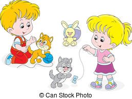 Vector Clipart of Children play with kittens.