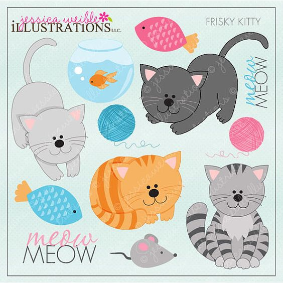 Frisky Kitty Cute Digital Clipart for Card Design, Scrapbooking.