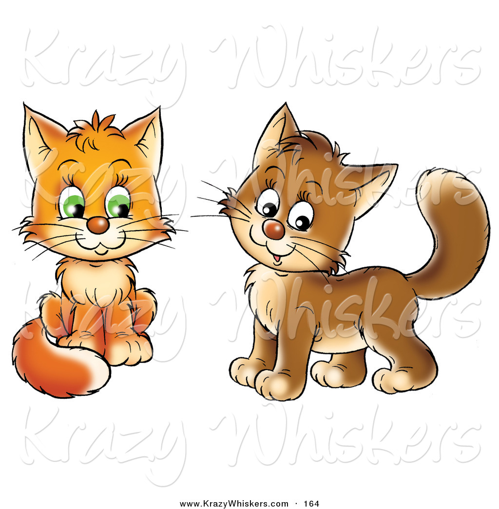 Critter Clipart of a Pair of Frisky Orange and Brown Kitty Cats.