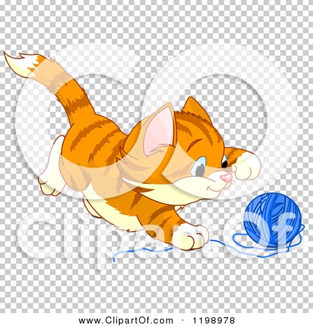Cartoon of a Cute Frisky Ginger Kitten Playing with Yarn.