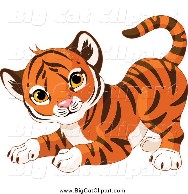 Big Cat Cartoon Vector Clipart of a Frisky Cute Tiger Cub in a.
