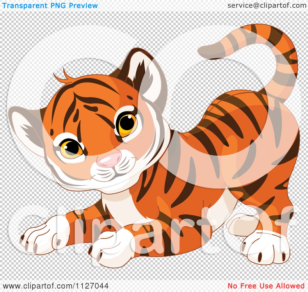 Cartoon Of A Frisky Tiger Cub In A Playful Stance.