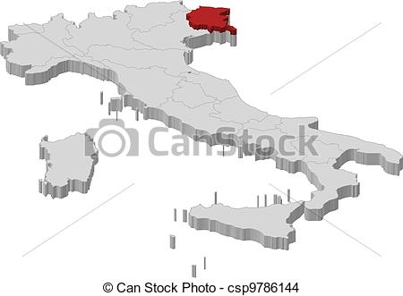 EPS Vector of Map of Italy, Friuli.