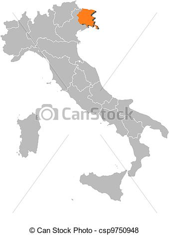 Vector of Map of Italy, Friuli.