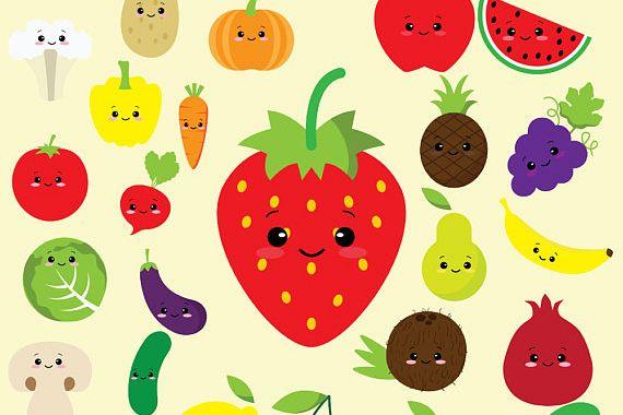 Kawaii Fruit Clipart.