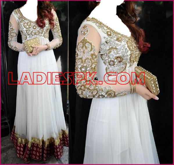 Fancy White Boutique Frocks for Wedding Party India Pakistan.