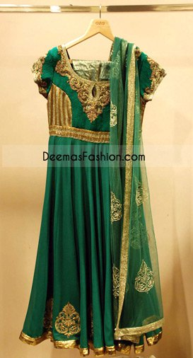 Boutique Design Green Golden Chiffon Frock.