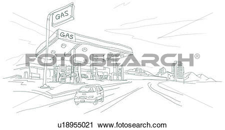 Clipart of Car in front of a Gas station u18955021.