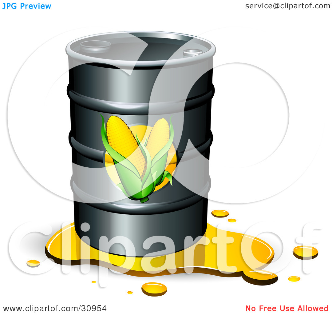 Clipart Illustration of a Leaking Barrel Of Ethanol Fuel With Corn.