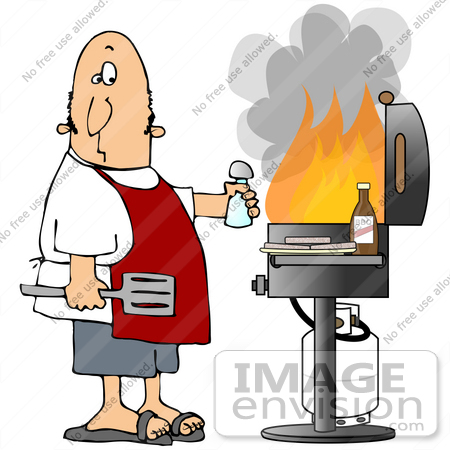 Clip Art Graphic of a Nervous Caucasian Man Wearing A Red Apron.