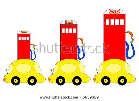 Bright, Colorful Cartoon Cars In Front Of Gas Pumps That Keep.