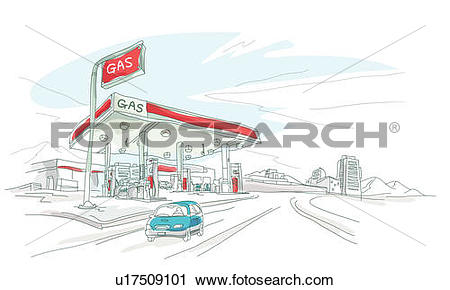 Clipart of Car in front of a gas station u17509101.