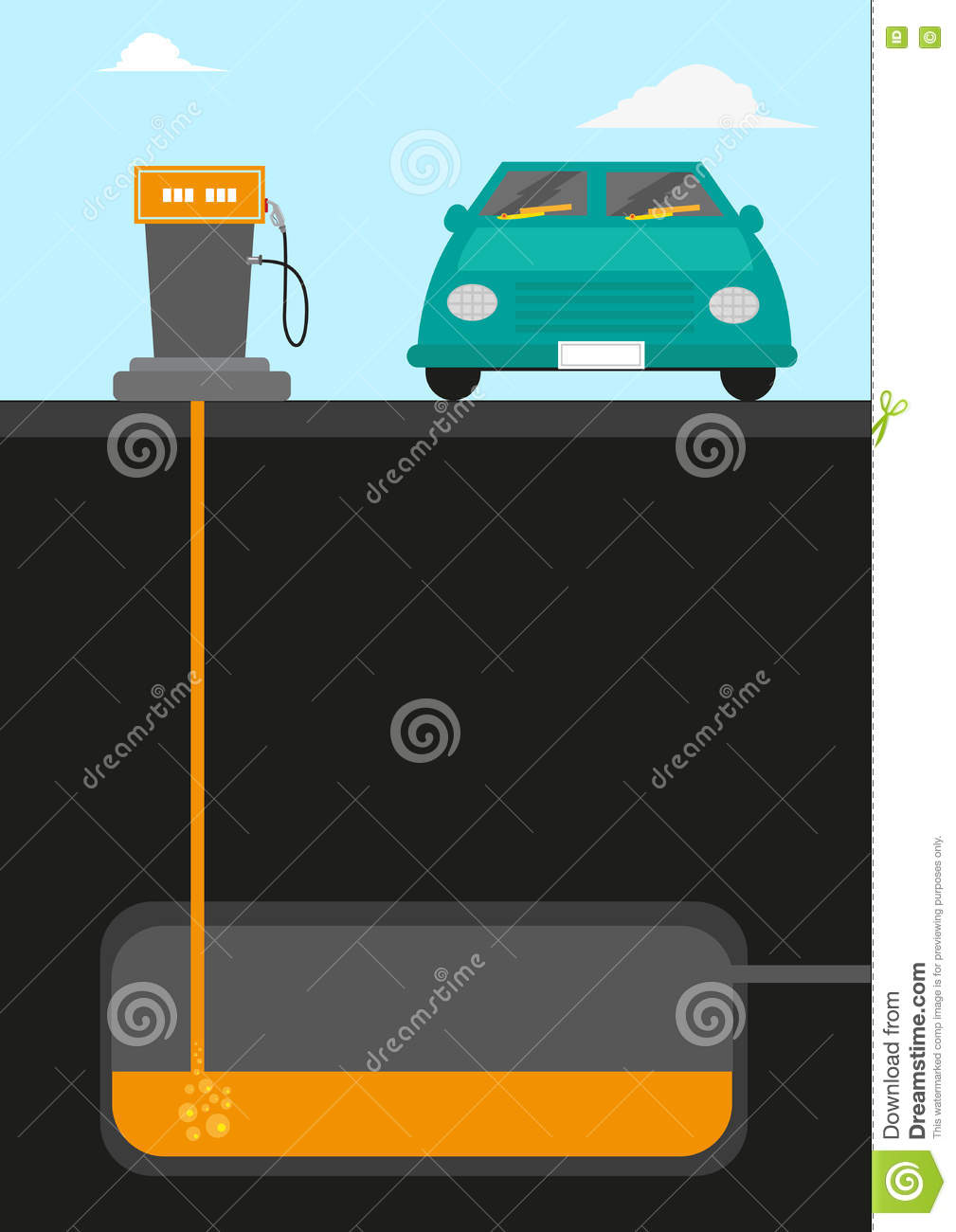 Gasoline Pumping Station Diagram Cutout With A Car Facing Front.
