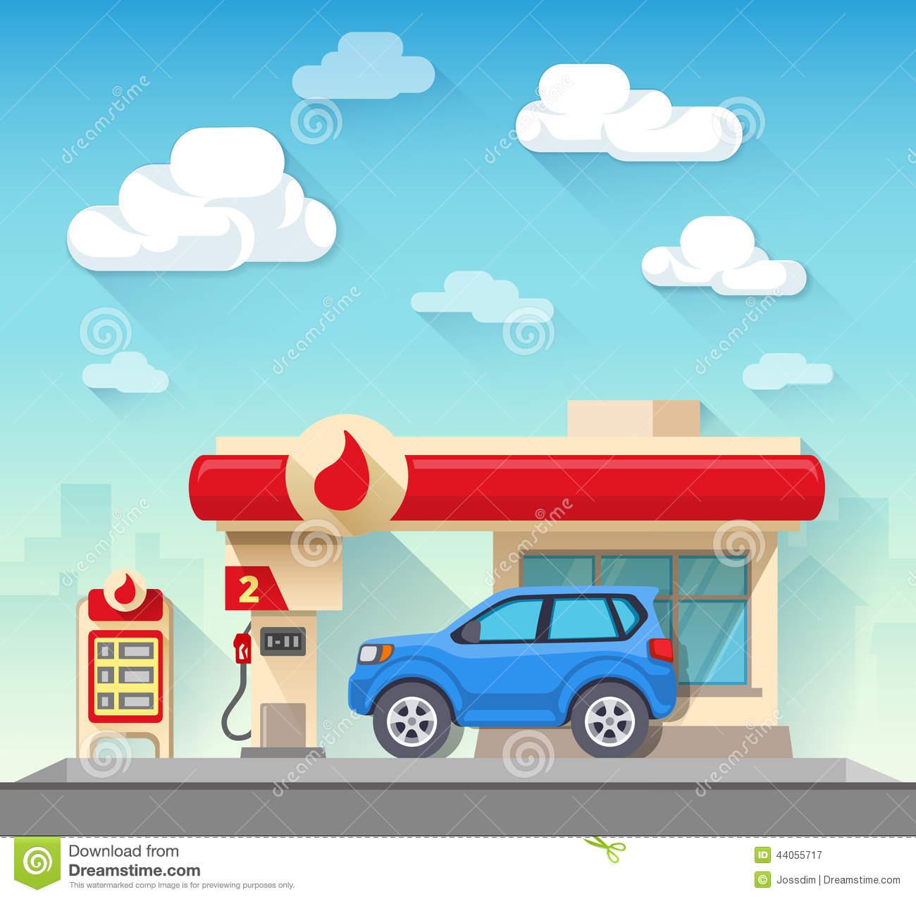 Free clipart of car at gas pump.