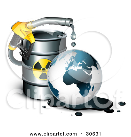 Clipart Illustration of a Yellow Petrol Nozzle Dripping Oil Over.