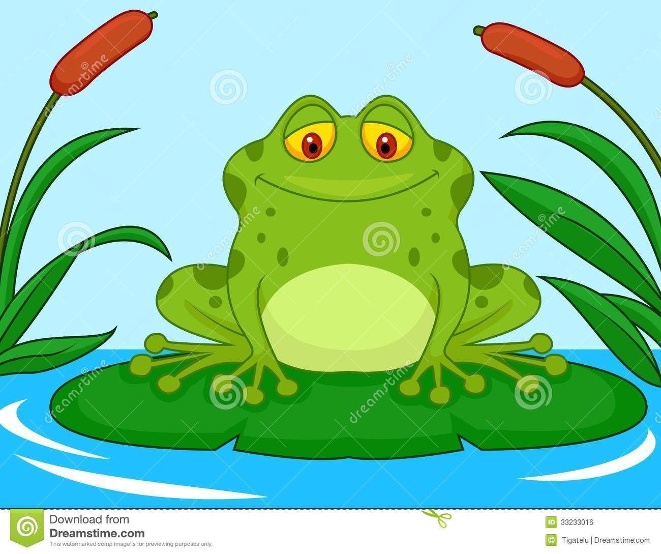 Cute Green Frog Cartoon On A Lily Pad Illustration 33233016.