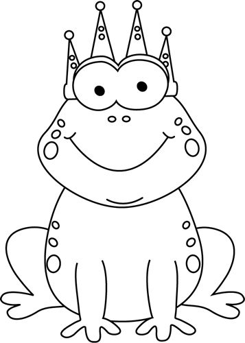 Black And White Clipart Of Frog.