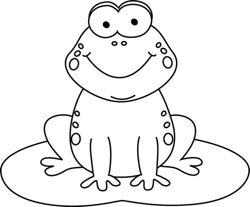 Clip Art Of A Black And White Smiling Frog By Hit, Frog Black And.