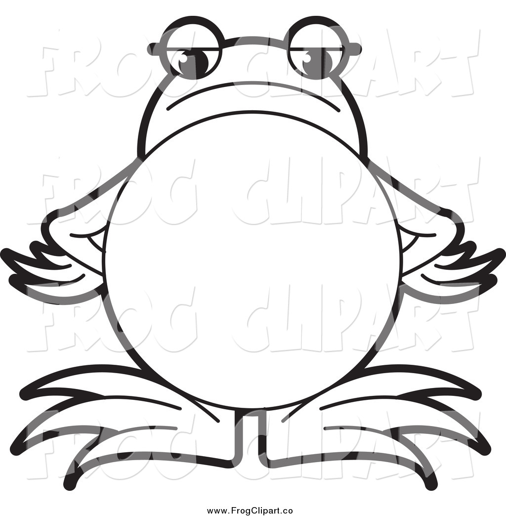 Cute Frog Clipart Black And White.