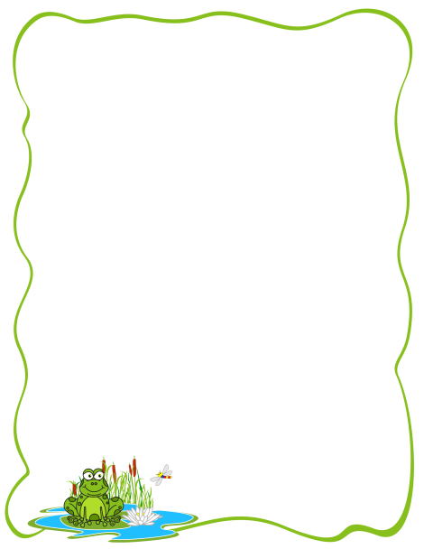 A page border featuring a cartoon frog on a lily pad. Free.