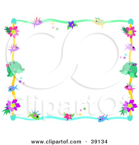 Clipart Illustration of a Wavy Colorful Border With Flowers.