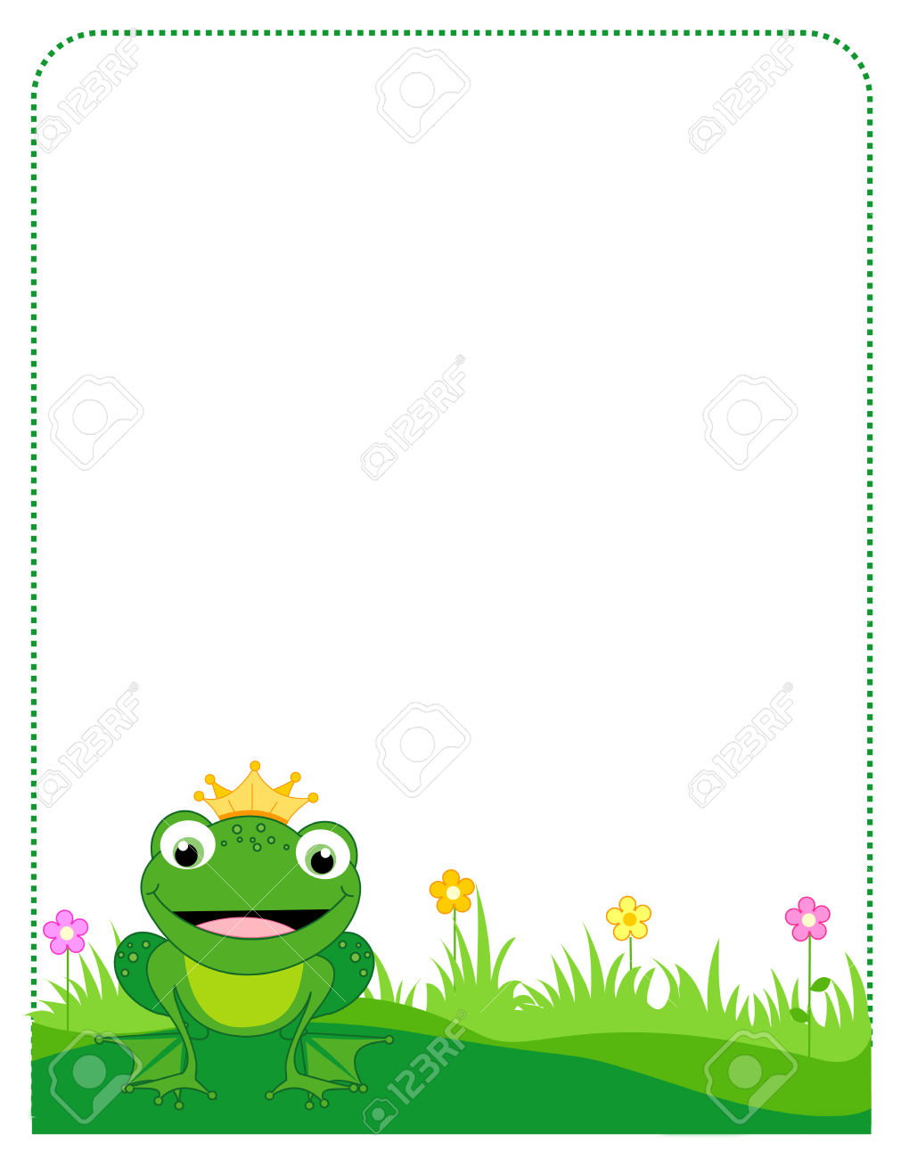 Cute Frog With A Golden Crown Border / Frame On White Background.
