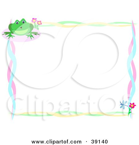 Clipart Illustration of a Colorful Border Of Fish, Stars, Dots.