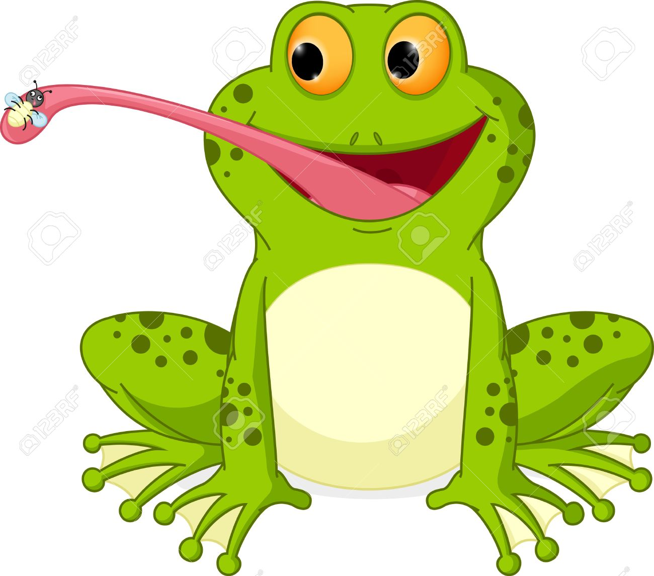 Frog Catching Fly Clipart.