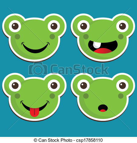 Vector Clip Art of Cute Frog Stickers.