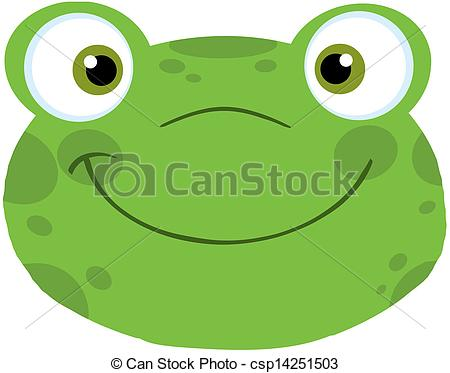 Vector Clipart of Frog Smiling Head.