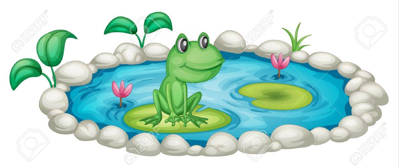 Illustration of a small pond with a frog.