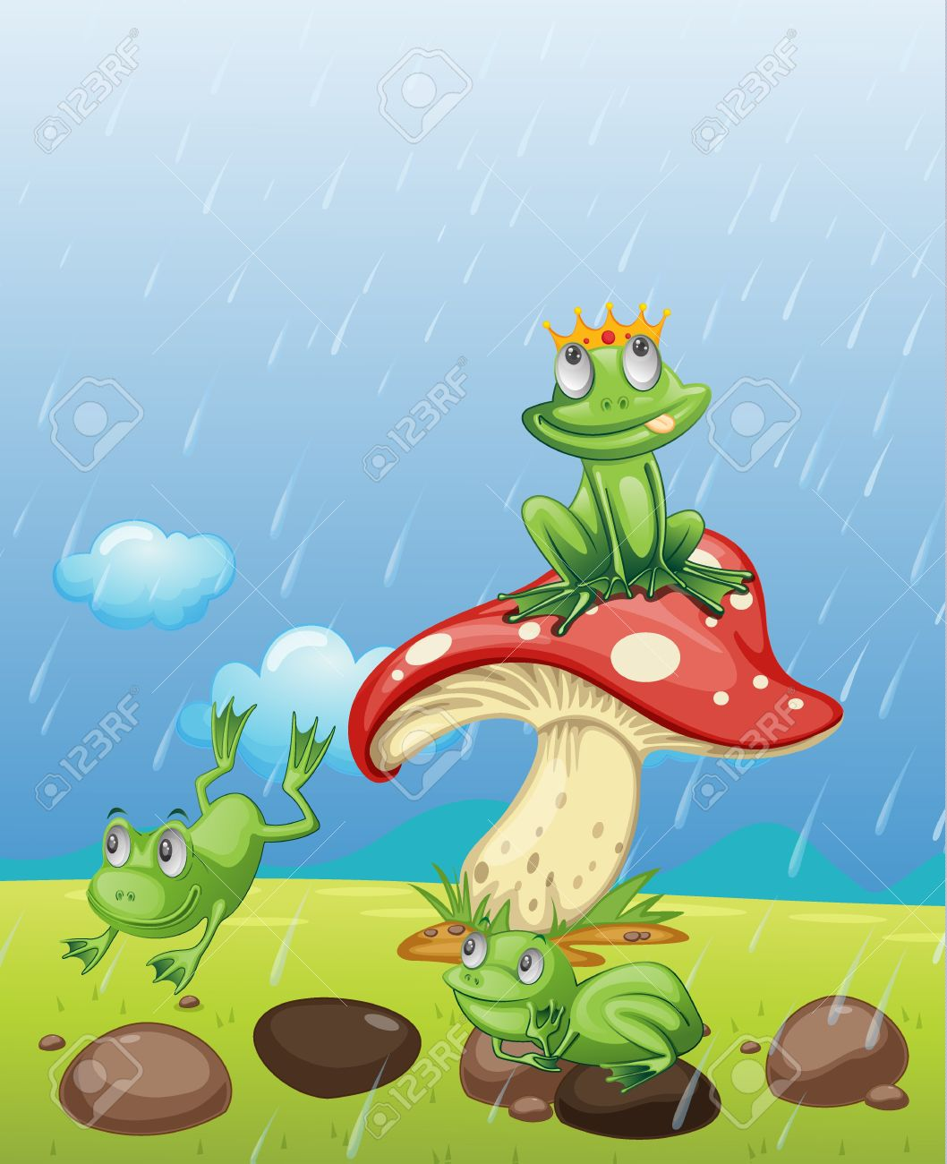Illustration Of Frogs Playing In The Rain Royalty Free Cliparts.