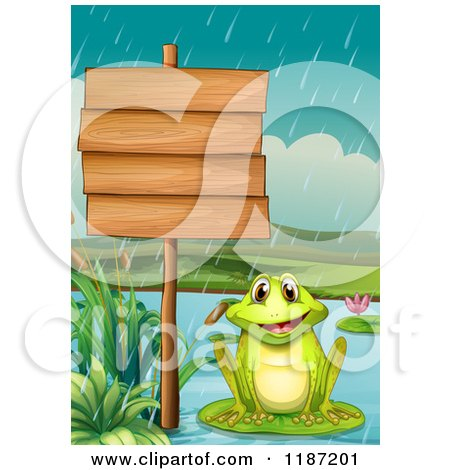 Cartoon of a Happy Frog in the Rain by a Wooden Sign.