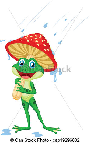 Vector Clipart of Cute frog cartoon wearing rain gear.