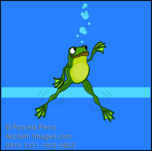 Clip Art Illustration of a Cartoon Frog Swimming Under Water.