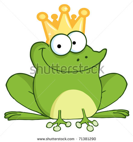 of a frog wearing a crown in a vector clip art illustration.