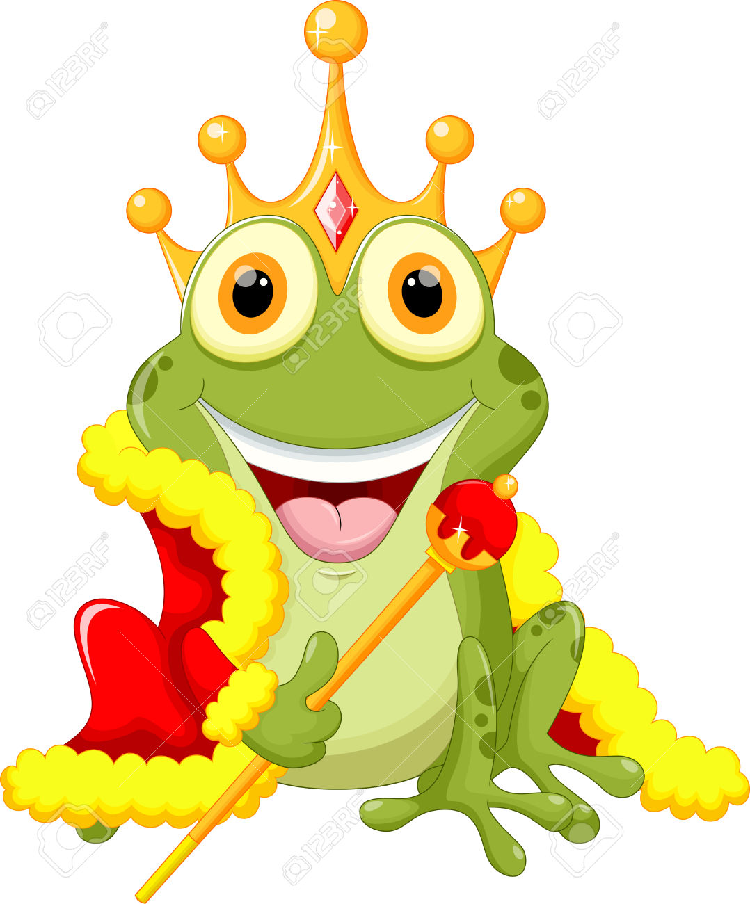 Cute Frog Prince Cartoon Royalty Free Cliparts, Vectors, And Stock.