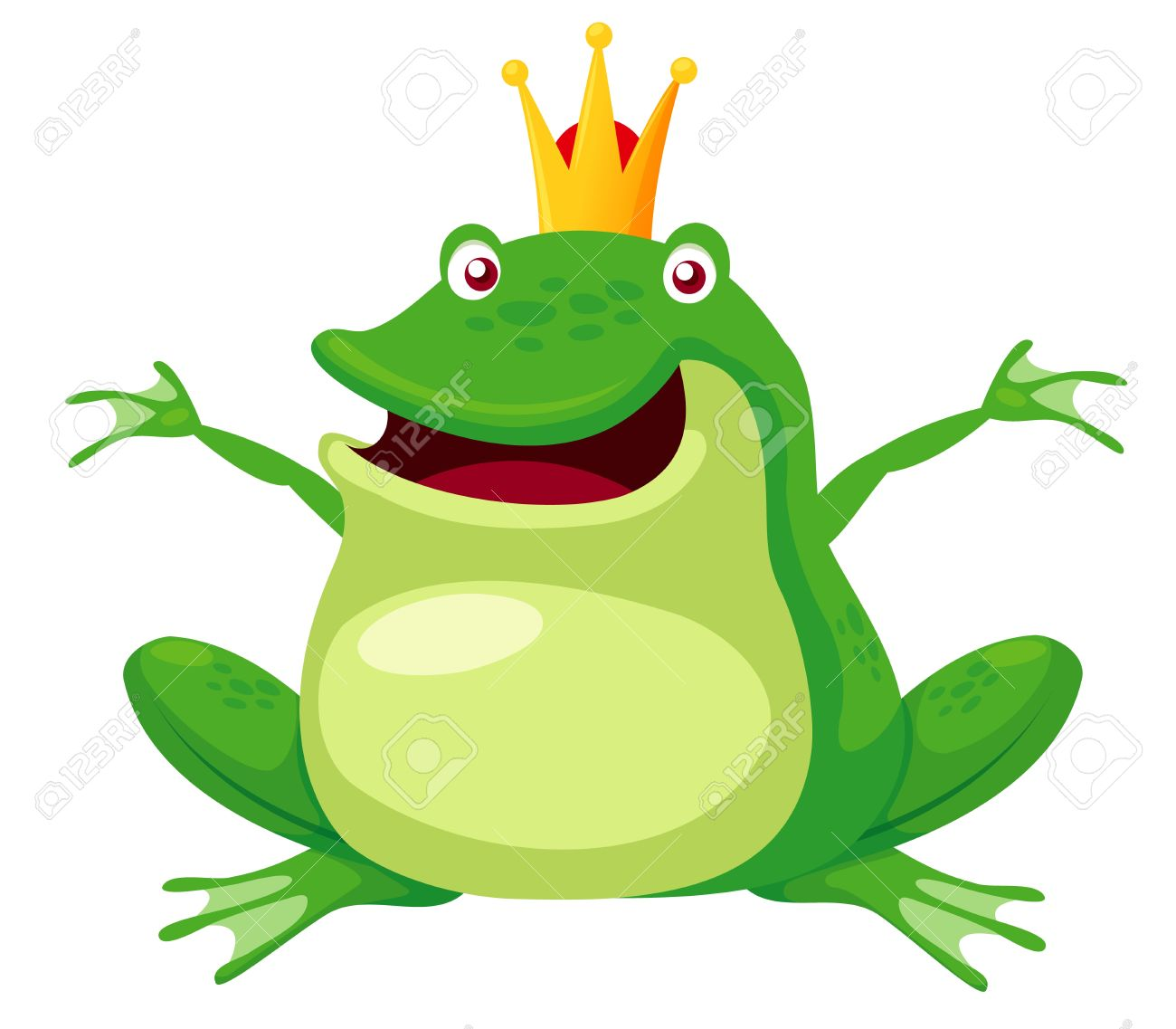 Illustration Of Happy Frog Prince Vector Royalty Free Cliparts.