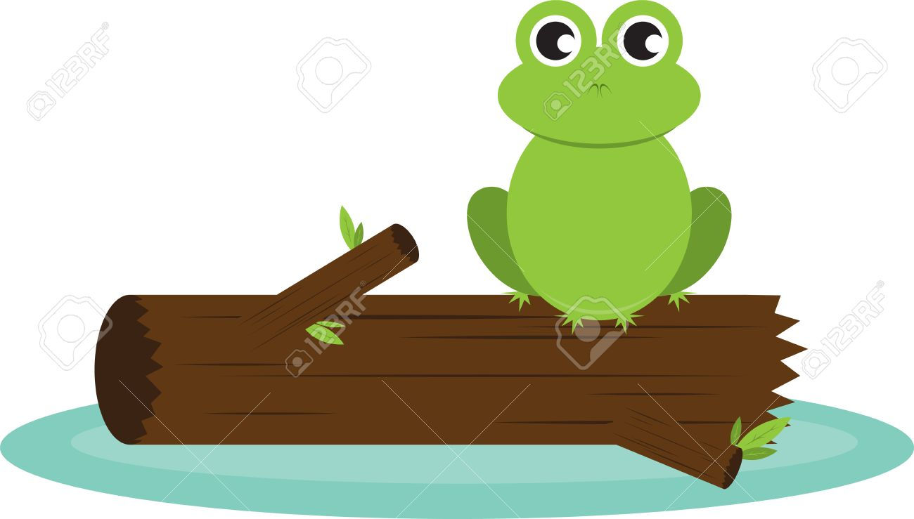 Frogs on a log clipart 1 » Clipart Station.
