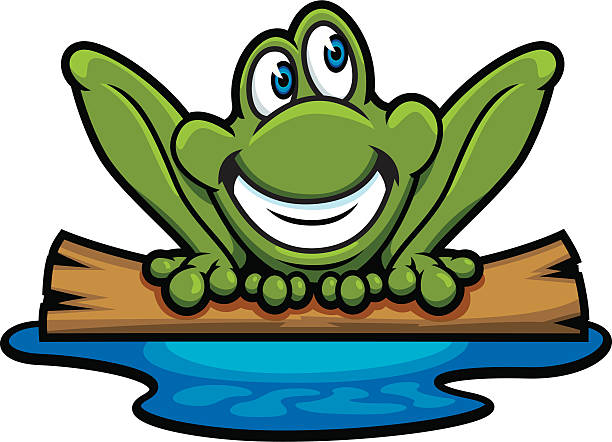 Frog On A Log Clipart.
