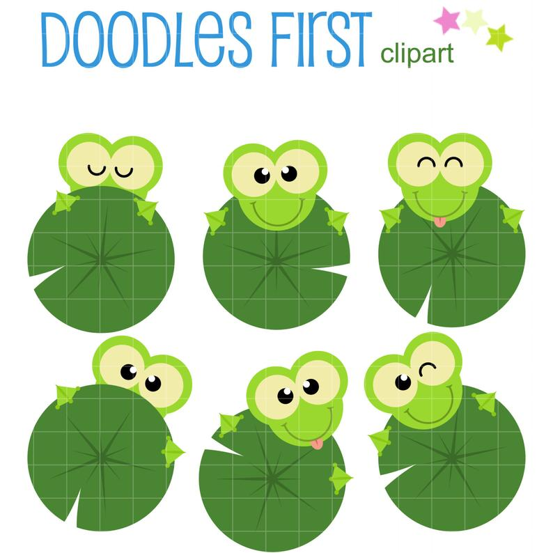 Frogs Holding Lily Pads Clip Art for Scrapbooking Card Making Cupcake  Toppers Paper Crafts SVG Cuts.
