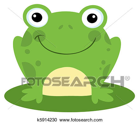Smiling Frog On A Lily Pad Clipart.
