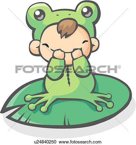Clipart of person, character, people, infant, costume, frog.