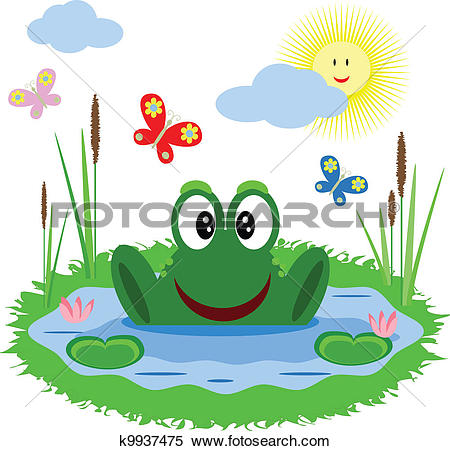 Clipart of A turtle and a frog at the pond with a rainbow in the.