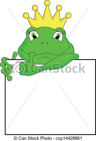 Clip Art Vector of frog with blank sign.